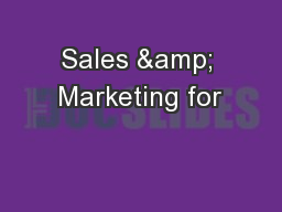Sales & Marketing for