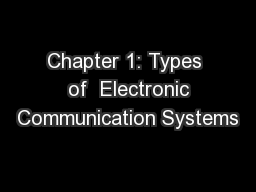 Chapter 1: Types  of  Electronic Communication Systems