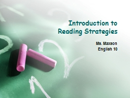 Introduction to  Reading Strategies