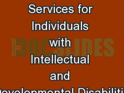 Analysis of Transportation Services for Individuals with Intellectual and Developmental Disabilitie