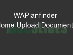 WAPlanfinder Home Upload Documents