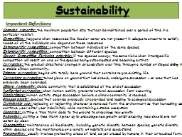 Sustainability  Important Definitions