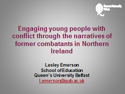 Engaging young people with conflict through the narratives of former combatants in Northern Ireland