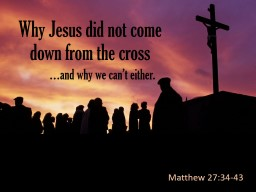 Why Jesus did not come down from the cross