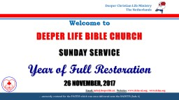Welcome   to DEEPER LIFE BIBLE CHURCH