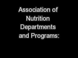 Association of Nutrition Departments and Programs: