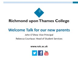 Welcome Talk for our new parents