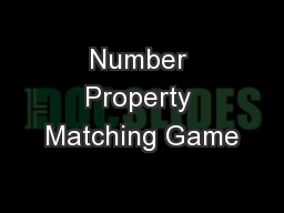 Number Property Matching Game