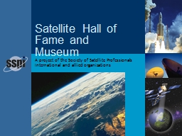 A project of the Society of Satellite Professionals International and allied organizations