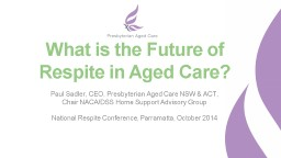 What is the Future of Respite in Aged Care?