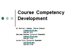 Course Competency Development PowerPoint PPT Presentation