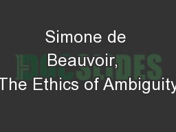 Simone de Beauvoir,  The Ethics of Ambiguity