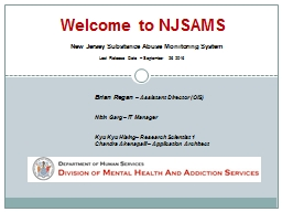 Welcome to NJSAMS New Jersey Substance Abuse Monitoring System