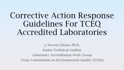 Corrective Action Response Guidelines For TCEQ Accredited Laboratories
