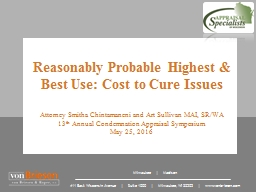 Reasonably Probable Highest & Best Use: Cost to Cure Issues