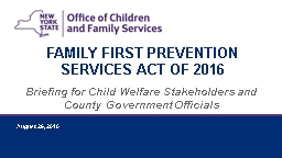 Briefing for Child Welfare Stakeholders and County Government Officials