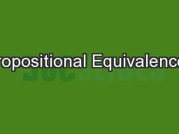 Propositional Equivalences