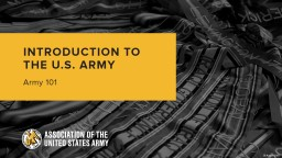 INTRODUCTION TO THE U.S. ARMY