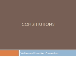 Constitutions   Written and Unwritten Conventions