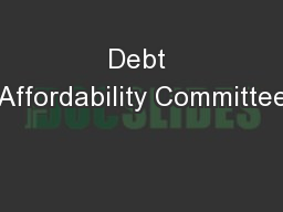 Debt Affordability Committee