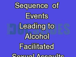 Typical Sequence  of Events Leading to Alcohol Facilitated Sexual Assaults