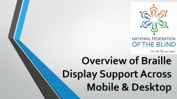 Overview of Braille Display Support Across Mobile & Desktop