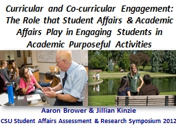 C urricular  and  Co-curricular Engagement: The Role