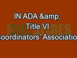 IN ADA & Title VI Coordinators' Association