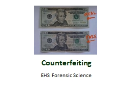 Counterfeiting EHS Forensic Science