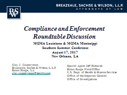 Compliance and Enforcement Roundtable