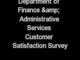 Department of Finance & Administrative Services Customer Satisfaction Survey