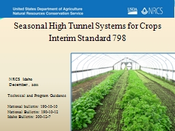 Seasonal High Tunnel Systems for