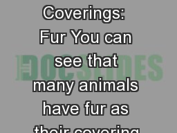 Animal Coverings:  Fur You can see that many animals have fur as their covering.