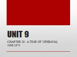 UNIT 9 CHAPTER 29:  A TIME OF UPHEAVAL 1968-1974