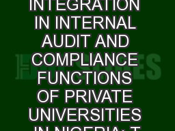 FAITH  INTEGRATION IN INTERNAL AUDIT AND COMPLIANCE FUNCTIONS OF PRIVATE UNIVERSITIES IN NIGERIA: T