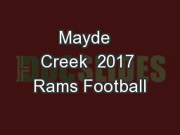 Mayde  Creek  2017 Rams Football