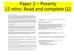 Paper  2  – Poverty 15 mins: Read and complete Q1