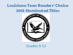 Louisiana Teen Readers' Choice PowerPoint Presentation, PPT - DocSlides