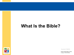 What Is the Bible? Document #: