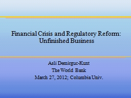 Financial  Crisis and Regulatory Reform: