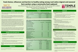 Food choices, influences and barriers to healthy eating among rural Latino migrant and seasonal far