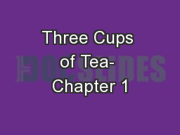 Three Cups of Tea- Chapter 1