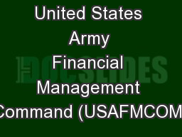 United States Army Financial Management Command (USAFMCOM)