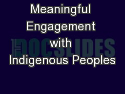 Meaningful Engagement with Indigenous Peoples