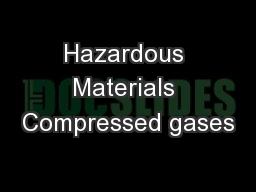 Hazardous Materials Compressed gases