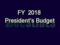 FY  2018 President's Budget