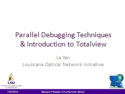 Parallel Debugging Techniques