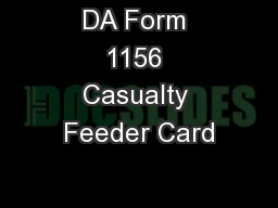DA Form 1156 Casualty Feeder Card