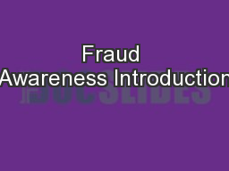 Fraud Awareness Introduction