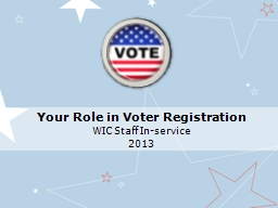 Your Role in Voter Registration